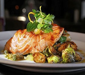 Garlic Roasted Salmon & Brussels Sprouts image