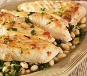 Halibut with Beans and Spinach image