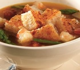 Roasted Asparagus & Shrimp Soup with Parmesan Cheese Croutons image