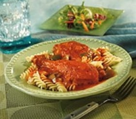 Saucy Chicken, Vegetables & Pasta image